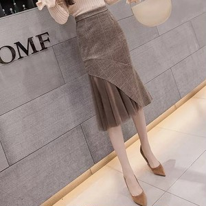 tulle check tight skirt 2color