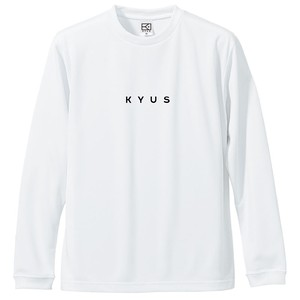 KYUS miniロゴ ドライシルキーロングスリーブTシャツ (ホワイト×ブラック)