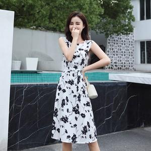 【dress】美しいシルエット プリント2色エレガント ファッションワンピース