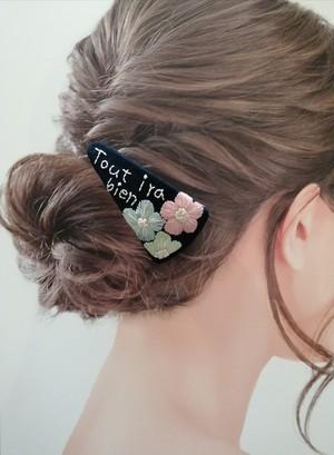 ☆限定SALE価格☆刺繍メッセージ入りお守りバレッタ