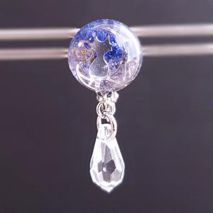 〈glass cat series〉ブルー×パープルのツートンガラスのイヤリング