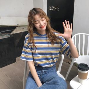 【トップス】配色ストライプ柄韓国風ルーズ着やすい半袖Tシャツ