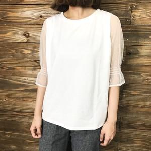 ドットチュール切り替えTシャツ【&mode】