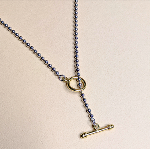 3 WAYS Ball Chain Necklace   Platinum x K18 plated