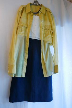 CHANEL Yellow-green Cotton Blouse