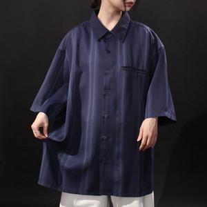 over silhouette solid & gradation stripe art design drape shirt