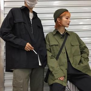 【トップス】ストリート系シンプル無地シャツ20475926