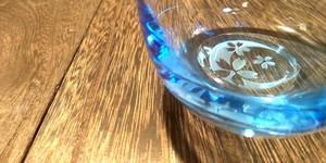 しずく型タンブラーグラス底面加工『月と桜』