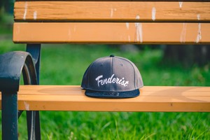 【送料無料】Flat Visor Cap [Charcoal/Black]  Leaves - Fenderist