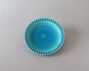 トルコ釉の波皿- 6寸| 環窯