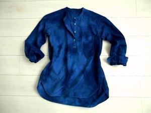 ◆100%自然素材 天然灰汁発酵建て 本藍染◆ 高素材 『エジプト最高級綿花 GIZA45』 チュニックブラウス