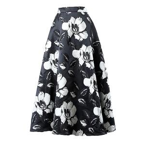 フラワージャガードロングスカート