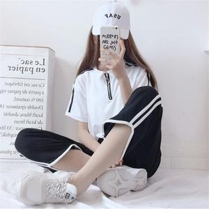 【セットアップ】2点セット夏新作シンプルPOLOネックTシャツ+ガウチョパンツ