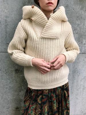 Vintage off white wool foodie knit tops ( ヴィンテージ オフホワイト ウール フード ニット トップス )