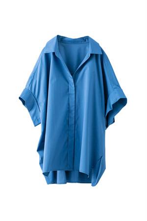 プリーツハーフスリーブシャツ <ブルー>