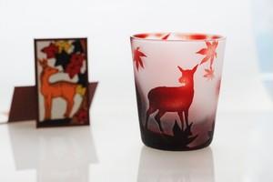 鹿に紅葉〜花札のガラスおちょこ~(赤)