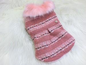 ★かわいい犬服ワンピ/ドレス  サーモンカラーツィードコート