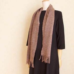 手紡ぎ手織りのマフラー〈やわらかタイプ〉(茶色+ピンク)