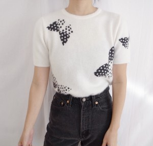 Vintage White Bow Print Sweater