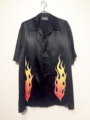 Fire pattern open collar shirt
