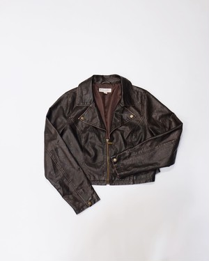 short leather jacket (dark brown)