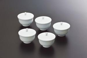 No.103【井上萬二窯作】白磁笹彫文蓋付汲出碗(小)