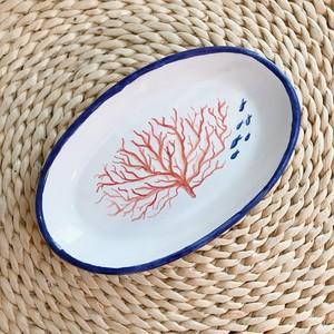 マヨリカ焼き オーバル皿(中) サンゴ