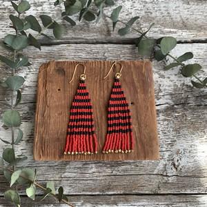 <14KGF> bead stitch fringeピアス ✳︎ border red