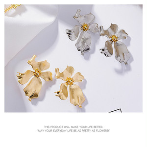 【pierced earring】Flower metal earrings[kgf0104]