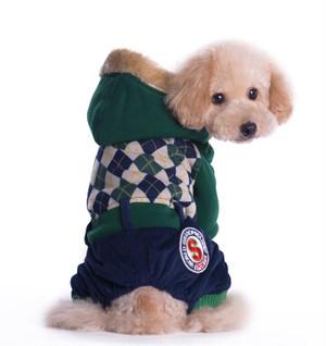 犬服(ドッグウェア)アーガイル柄 ロンパース グリーン