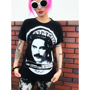 """GOD SAVE THE """"QUEEN"""" T-shirt sizeS 黒 ブラック"""