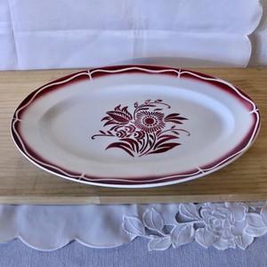 【CR2001-f28】Sarreguemines サルグミンヌ フランスブロカント プレート 大皿 花モチーフ フレンチ ブロカント