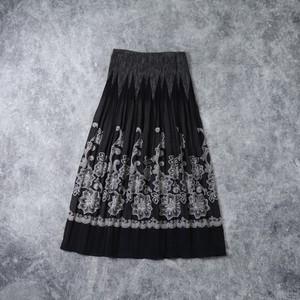 レディース 90年代 USA製 花柄 シフォン スカート アメリカ古着 ブラック M