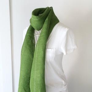 """【ベルギーリネン:オールシーズン】ユニセックス:手織りストール """"Green"""""""
