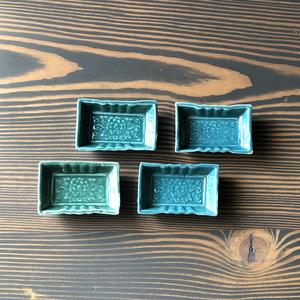 アンティークお醤油皿(緑)4枚組