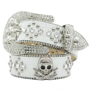 【予約商品】HERMETIC Skull Leather Belt WHITE