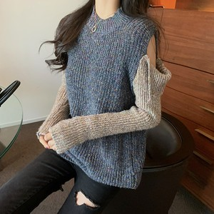 【トップス】大流行韓国版デザインオープンショルダ切り替えニットセーター
