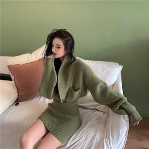 【セットアップ】【単品注文】秋冬ファッションミニジャケット単品注文ミニスカート2色ニットセット25385637
