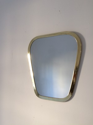 brass wall mirror  trapezoid