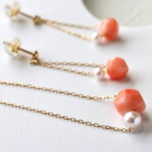 【CORALIA】クプル ピンク珊瑚 アコヤパール ネックレス K18