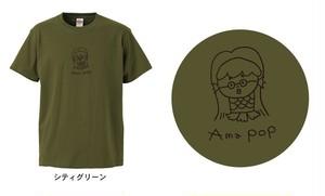 """アマビエ×@なおポップ=""""Ama pop""""Tシャツ(シティーグリーン)"""