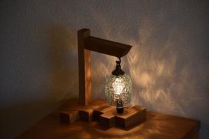 木とガラスのテーブルランプ【アイスカット ラムネ】