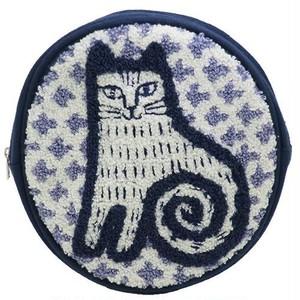 【メール便対応】リサラーソン  サガラ刺繍 円形ポーチ ニナネコ ルドルフ
