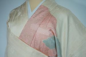 訪問着 絞り 刺繍 正絹 一つ紋 クリーム ピンク 花柄 055