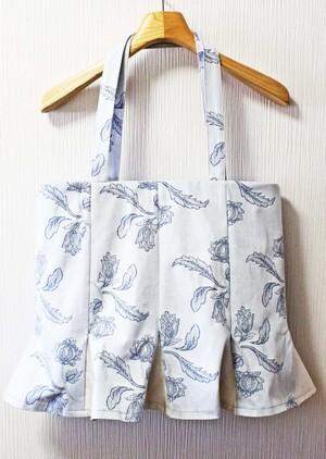 「スカートをはいたトート」 L スカイブルー 水色×シルバー 花柄(SKT-21)
