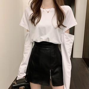 【セット】「単品注文」魅力ファッション長袖ラウンドネックプルオーバーTシャツ+スカート23459283