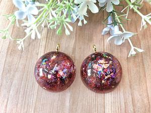 ミニドーム型 オルゴナイト ガーネット バッグチャーム or ネックレス 選択可能