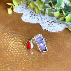 ぷっくりガラスとオーロラガラスのリング