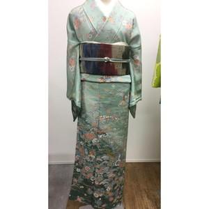 キモサトコーディネート#003【四季の花々】 着物、帯、帯揚、帯締の4点セット