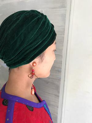 turban hat ( ターバン ハット ブラック レオパード グリーン